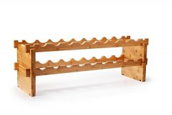 Natural Bamboo Wine Rack (33.5″ X 9.4″ X 11.5″), Mosa 18 Bottle Wooden Free St ...