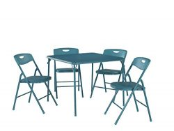 Cosco 5-Piece Folding Table and Chair Set, Teal