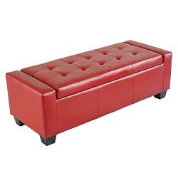 Homcom Faux Leather Storage Ottoman / Shoe Bench – Red