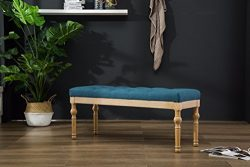 Roundhill Furniture CB161BU Habit Solid Wood Button Tufted Dining Bench, Blue