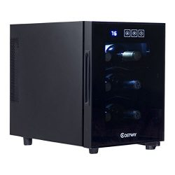 Costway Thermoelectric Wine Cooler Freestanding Cellar Chiller Refrigerator Quiet Compact w/ Tou ...