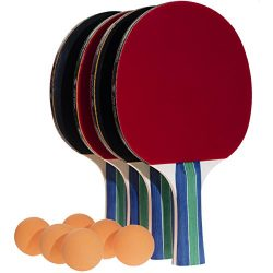 JNW Direct Table Tennis Set, 4 Professional Paddles & 6 Ping Pong Balls, Portable Case Inclu ...