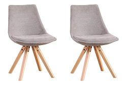 Set of 2 Modern Designer Elegant Eames Style Dining Living room Plastic Chairs Set with Sturdy W ...