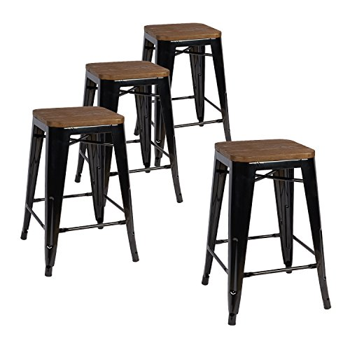 Lch 24 Inch Metal Industrial Bar Stools Set Of 4 Indoor