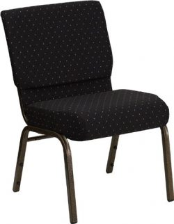 "Flash Furniture HERCULES Series 21""W Stacking Church Chair in Black Dot Patterned Fabric & ..."