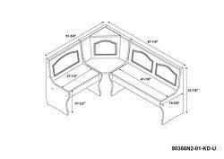 Linon Chelsea Kitchen Nook Corner Unit