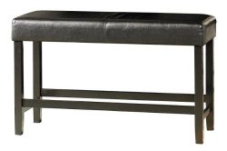 Homelegance 5351-24BH Bi-Cast Vinyl Counter Height Bench, Black