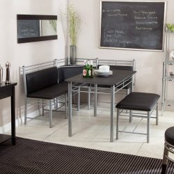 Breakfast Nook – Black Family Diner 3 Piece Corner Dining Set – Enjoy the Best Kitch ...