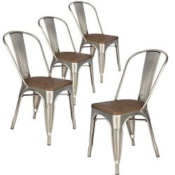 LCH Industrial Metal Wood Top Stackable Dining Chairs, Set of 4 Vintage Indoor/Outdoor Stackable ...