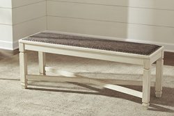 Borilanburg Casual Two-tone Color Large Upholstered Dining Room Bench
