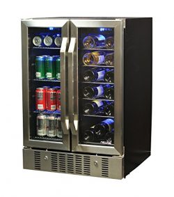 NewAir AWB-360DB 18 Bottle 60 Can Dual Zone Built-In Wine & Beverage Cooler, Stainless Steel ...