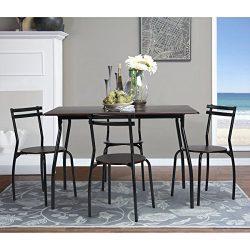 Coavas 5pcs Dining Table Set Kitchen Furniture Kitchen Table Rectangle Dining Table with 4 Round ...