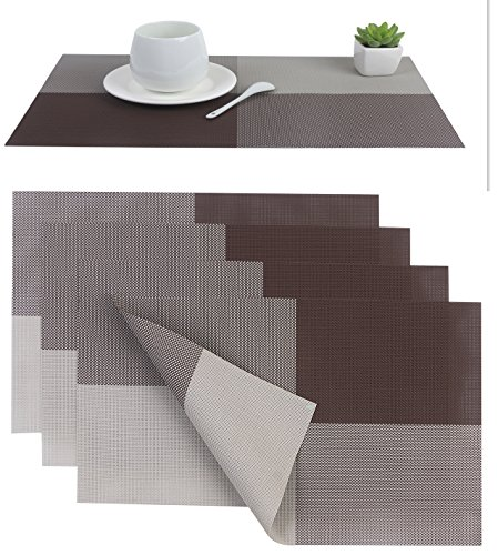 Placemat placemats pvc dining room placemat for table heat insulation stain resistant washable - Dining room table mats ...