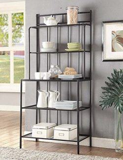 5-tier Black Metal Tempered Glass Shelves Kitchen Bakers Rack Wine Bottle