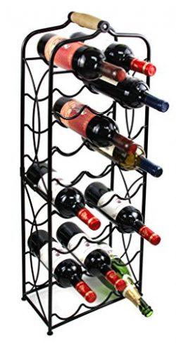 PAG 23 Bottles Metal Wine Racks Stand Display Holder with Wood Handle, Black