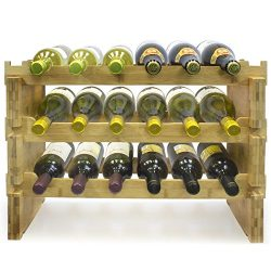 Sorbus 3-Tier Stackable Bamboo Wine Rack— Classic Style Wine Racks for Bottles— Perfect for Bar, ...
