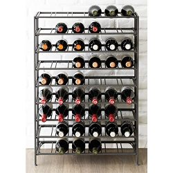 54 Bottle Connoisseurs Deluxe Large Foldable Gray Metal Wine Rack Cellar Storage Organizer Displ ...