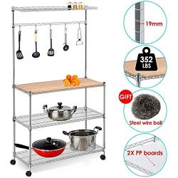 Yaheetech 35″ L x 14″ W x 61″ H 4 Tiers Adjustable Kitchen Bakers Rack Kitchen ...