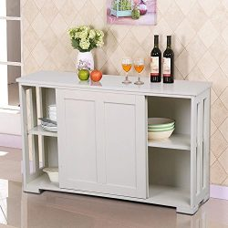 go2buy Antique White Stackable Sideboard Buffet Storage Cabinet with Sliding Door Kitchen Dining ...