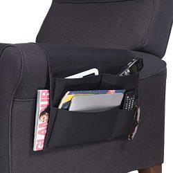 WALLNITURE Practical Armrest Caddy Organizer with Weighted Bracket Canvas Black 16 Inch Wide