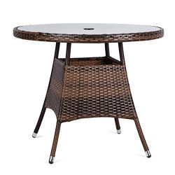 LUCKUP 36″ Patio Outdoor Wicker Rattan Dining Table Tempered Glass Top Umbrella Stand Roun ...