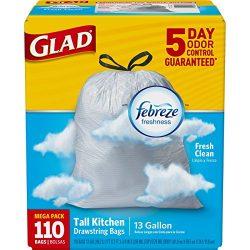 Glad OdorShield Tall Kitchen Drawstring Trash Bags – Febreze Fresh Clean – 13 Gallon ...