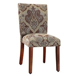 Kinfine N6354-F827 Dining Chair Parsons Classic, Set of 2, Blue and Brown Paisley