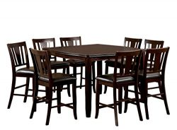 Furniture of America Frederick 9-Piece Square Counter Height Table Set with 16-Inch Expandable L ...