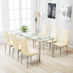 4 Family Dining Sets Glass Table and Leather Chiars,Beige (7 piece)