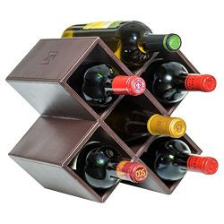 Kaydian Krafts Leatherette Countertop Wine Rack – 6 Bottle Decorative Tabletop Wine Organi ...