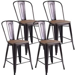 Costway 23.6″ Copper Set of 4 Metal Wood Counter Stool Kitchen Dining Bar Chairs Rustic