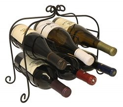 Annabel 6 Bottle Metal Wine Rack for Tabletop or Countertop by KitchenEdge, Free Standing, Black ...
