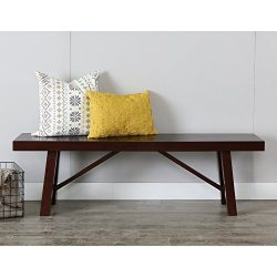 WE Furniture 60″ Solid Wood Trestle Dining Bench – Espresso, 60″,