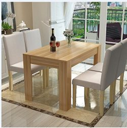 WV LeisureMaster 140CM Natural Wood Dining Table and 4 X Cream Faux Leather Chairs Home Kitchen  ...