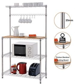 Finnhomy 16x36x61″ 4-Tiers Adjustable Kitchen Bakers Rack Kitchen Cart Microwave Stand wit ...