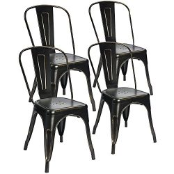 Devoko Tolix Black and Antique Gold Metal Chairs Indoor Outdoor Stackable Dining Chairs Kitchen  ...
