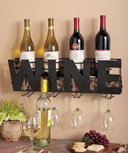 Metal Wall Mount Wine Bottle Rack: Hold Wine Corks & Wine Glasses by Besti