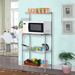 LANGRIA 3 Tier Microwave Stand Storage Rack, Kitchen Wire Shelving Microwave Oven Baker's Rack w ...
