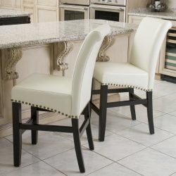 Clifton Ivory Leather Counter Stools w/ Brass Nailheads (Set of 2)