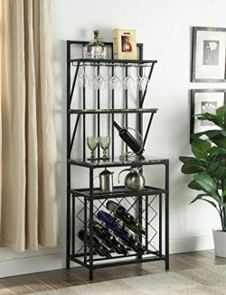 4-tier Black Metal Marble Look Finish Shelf Kitchen Bakers Rack Scroll Design with 20 Bottles Wi ...