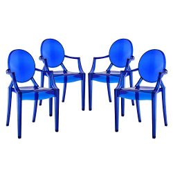 Modway Casper Dining Armchairs Set of 4 in Blue
