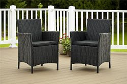 Cosco Dorel Industries Outdoor Jamaica Resin Wicker Dining Chair, Charcoal with Cushions, Set of 2