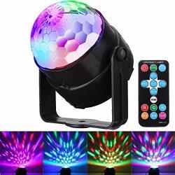 DJ Disco Lights, GLISTENY Disco Ball Light Sound Activated Strobe Light 7 Color RGB 15 Keys Remo ...
