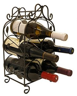 Rosabel 5 Bottle Metal Wine Rack for Tabletop or Countertop by KitchenEdge, Free Standing, Black ...