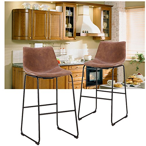 Shop Dark Brown Metal Frame Faux Leather Kitchen And: LCH 29 Inch Vintage Faux Leather Bar Stools- Antique Set
