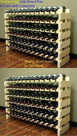 Stackable Modular Wine Rack Stackable Storage Stand Display Shelves, Wobble-Free, Pine wood, (14 ...