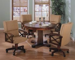 Three-in-One Game Table and Chair Set in Cherry / Walnut with Black Accents – Coaster