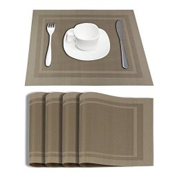 Placemats Dining Table Mat Vinyl Placemats Kitchen Placemats Set Wipeable Heat-resistant PVC (beige)