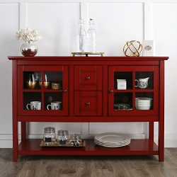 WE Furniture 52″ Console Table Wood TV Stand Console, Red