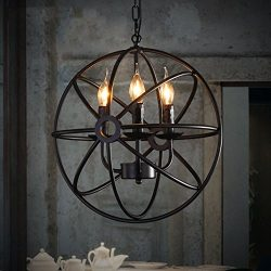 Perfectshow 4-lights Vintage Edison Metal Shade Round Hanging Ceiling Chandelier Retro Iron Rust ...